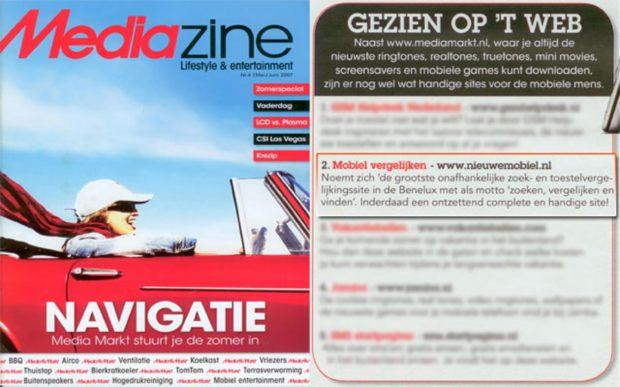 NieuweMobiel.NL genoemd in de Mediazine van mei juni 2007