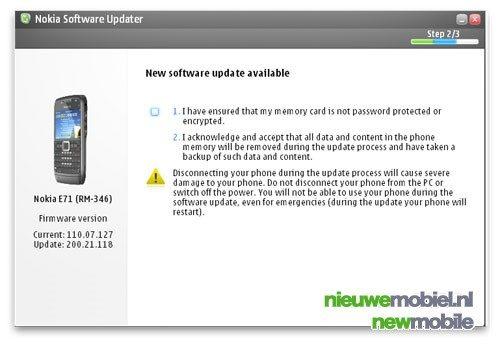 Firmware update voor Nokia E71