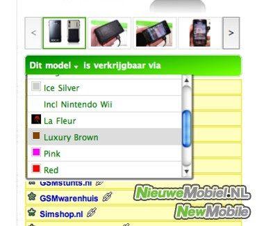 NieuweMobiel.NL maakt zoeken op kleur makkelijker