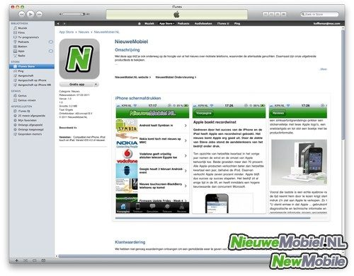 NieuweMobiel in iTunes