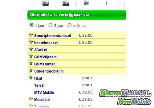 NieuweMobiel.NL met prijzen