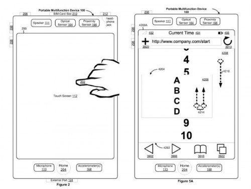 De tekening die werd ingediend bij het patent van Apple