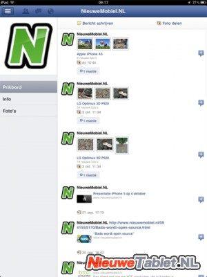Facebook iPad NieuweMobiel page