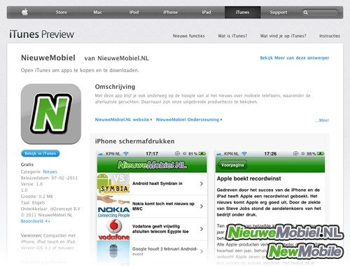 iTunes NieuweMobiel app