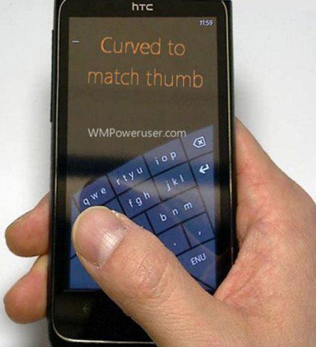 Microsoft Windows Phone Curved keyboard