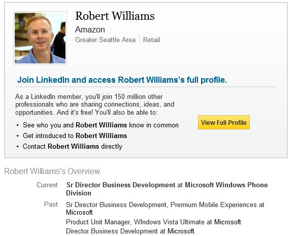 Robert Williams LinkedIn page