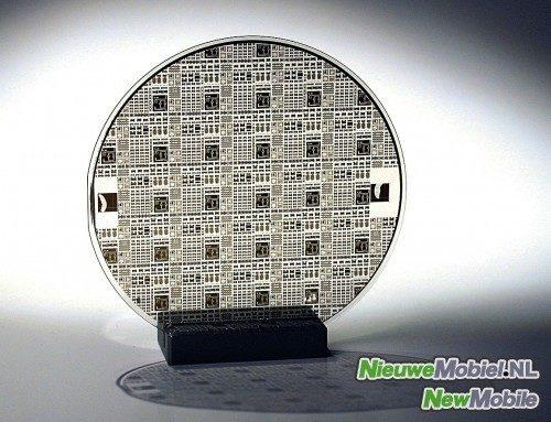 Een 'wafer' van de Nederlandse NFC-fabrikant NXP
