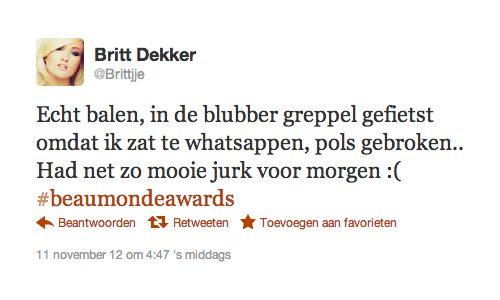 Britt Dekker tweet