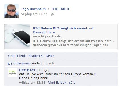 HTC Facebook response Deluxe DLX