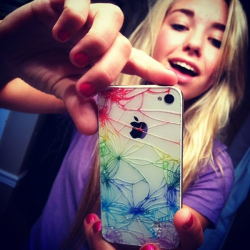 Colored shattered iPhone