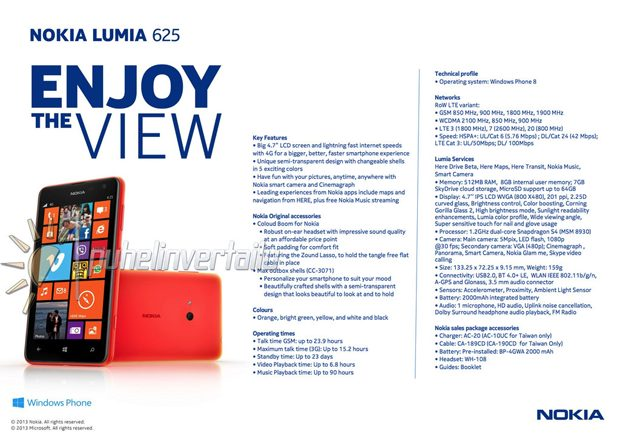 Grote Nokia Lumia 625 lekt vlak voor lancering uit