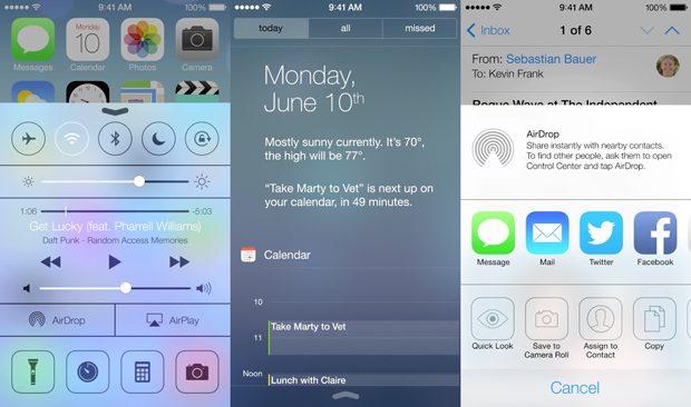 Apple iOS 7 screenshots