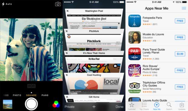 iOS 7 camera Safari and App Store