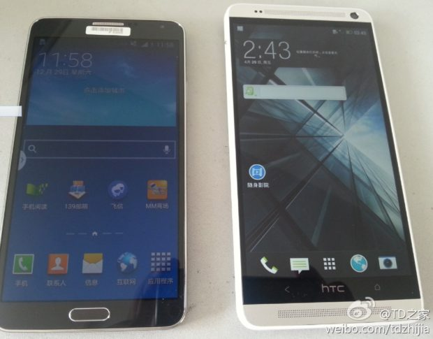 HTC One Max next to Samsung Galaxy Note 3