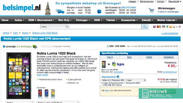 Nokia Lumia 1520 bij Belsimpel.nl