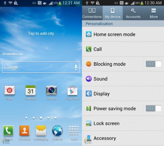 Galaxy S4 homescreen