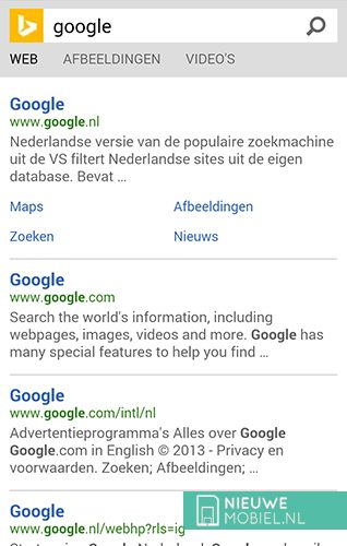 Bing search for Google