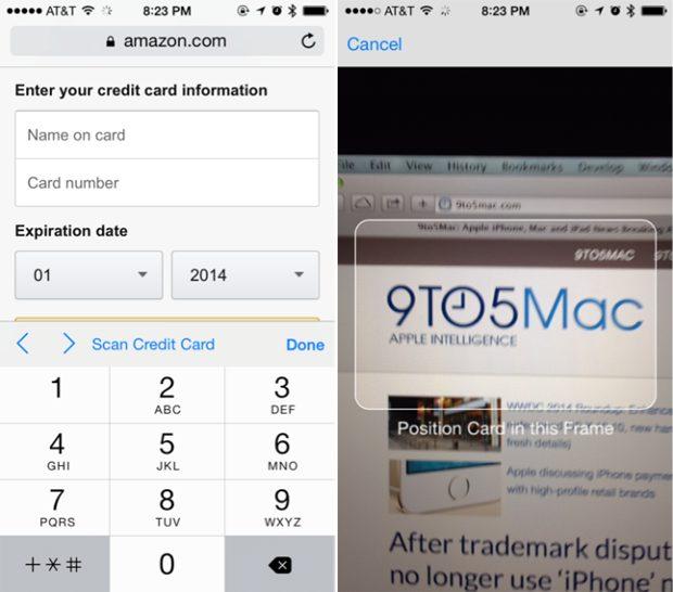 iOS 8 Safari Creditcard OCR