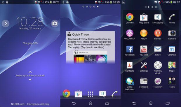 Sony Xperia Z2 UI