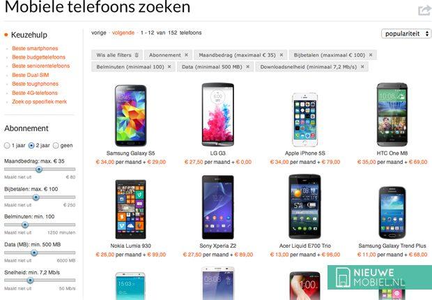 NieuweMobiel.NL zoekscherm