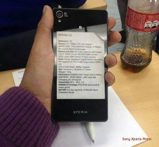 Sony Xperia Z3 with specs