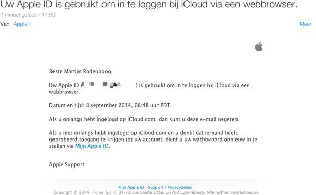 iCloud online warning