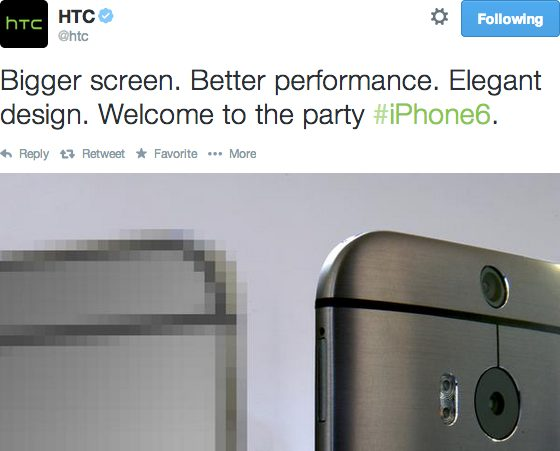 HTC iPhone 6 tweet