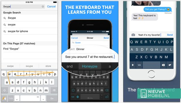 Swype, SwiftKey and Fleksy for iOS 8