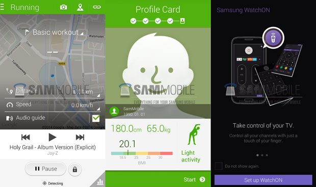 Samsung S Health and WatchON