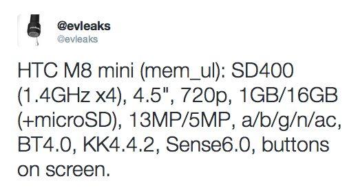 HTC M8 mini specs