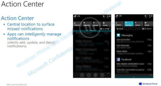 Windows Phone 8.1 Blue Action Center