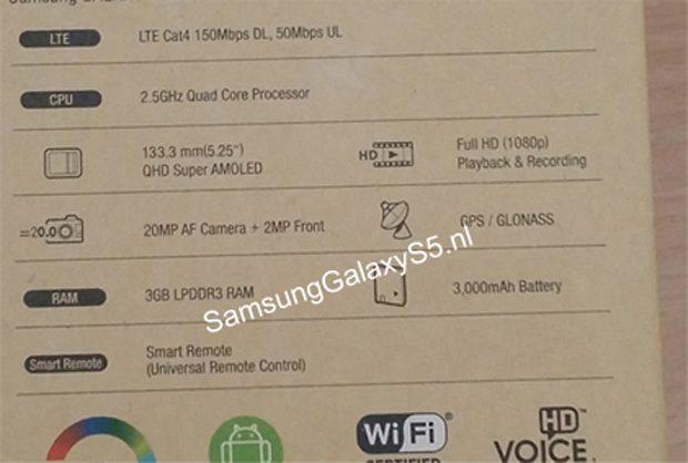 Samsung Galaxy S5 rear box