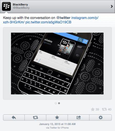 Blackberry iPhone tweet