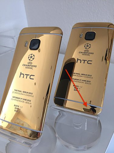 HTC One M9 limited gold edition shot with iPhone