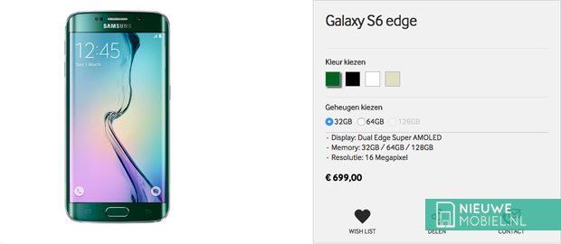 Samsung Galaxy S6 edge prijsdaling