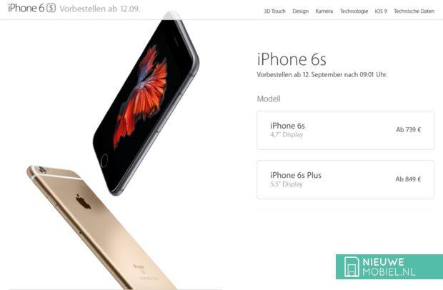 iPhone 6s prijzen Duitsland