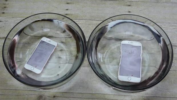 iPhones in water