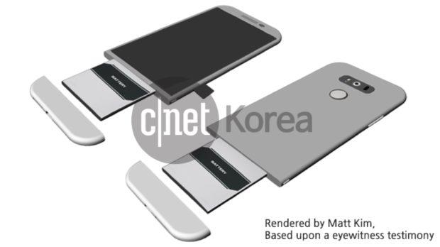 Render LG G5 met verwisselbare batterij