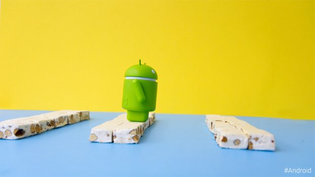 Springende Android Nougat mascotte