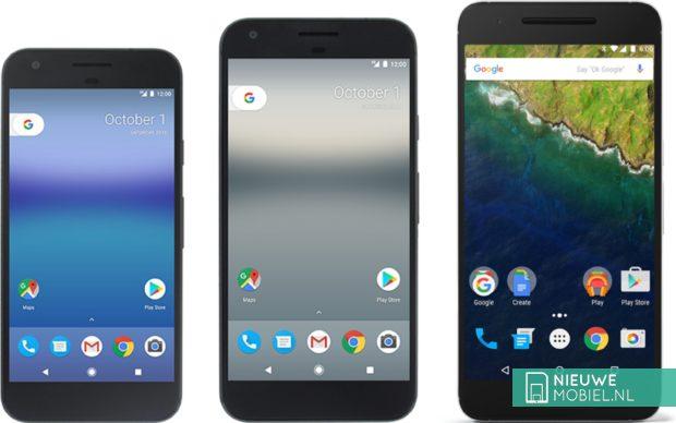 Google Pixel, Pixel XL en Nexus 6P naast elkaar