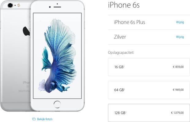 iPhone 6s Plus maximaal 128 GB