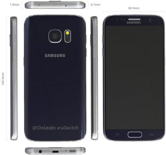 Samsung Galaxy S7 afmetingen