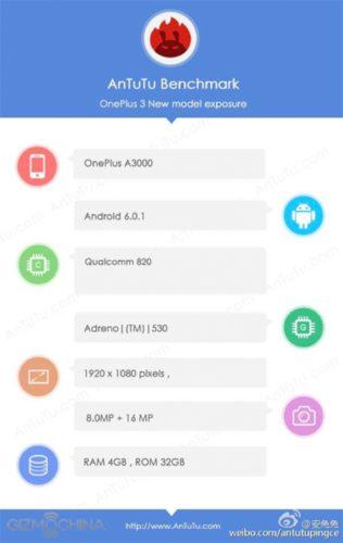 OnePlus 3 AnTuTu specs
