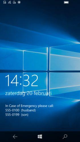 ICE-nummer op lock screen met ICE Message