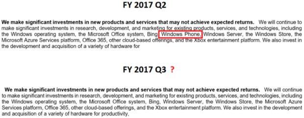 Microsoft Windows Phone investments