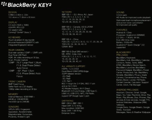 BlackBerry KEY2 speclijst