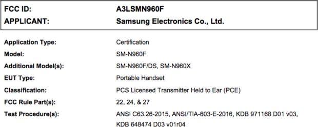 Samsung Note 9 FCC