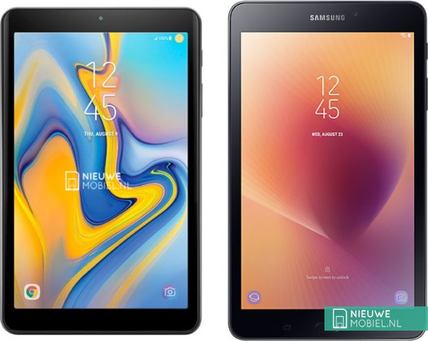 Samsung Galaxy Tab A 8.0 (2018) next to Galaxy Tab A 8.0 (2017)