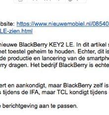 De mail die je wist die ging komen. Ergens spreekt het wel boekdelen dat BlackBerry niet geassocieerd wenst te worden met de KEY2 LE