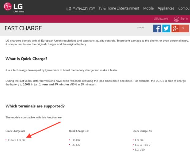 LG G7 met Quick Charge 4.0